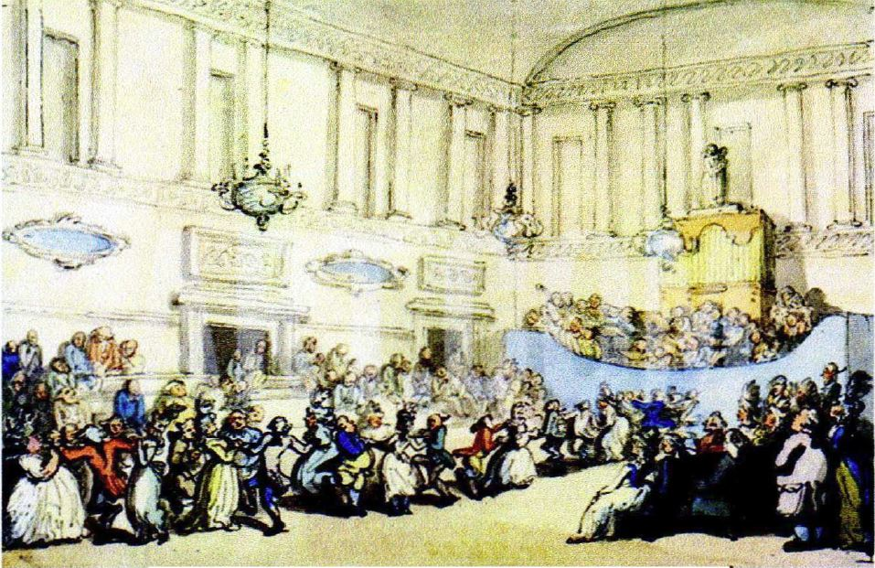 Un bal à Bath de Thomas Rowlandson, époque 1798
